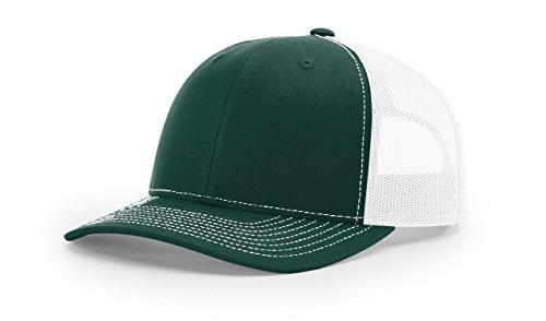 Richardson Dark Green/White 112 Mesh Back Trucker Cap Snapback Hat w/THP No Sweat Headliner - Dark Green Mesh Cap