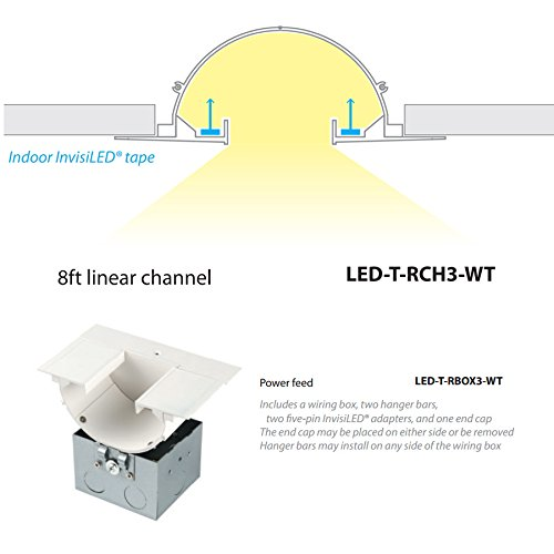 wac lighting led-t-rch3-wt invisiled linear deep recessed downlight channel,