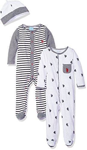 U.S. Polo Assn. Baby Boys Footie, Footed Sleep Play Polo Player Stripes with Cap Allover Print, 6-9 Months