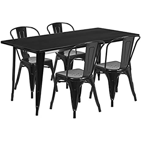 Flash Furniture 31 5 X 63 Rectangular Black Metal Indoor Outdoor Table Set With 4 Stack Chairs