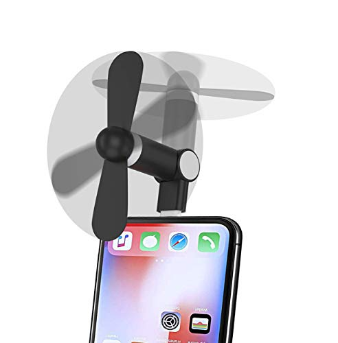 Mini Phone Fan, Wuedozue 180 Rotating Portable Cool Cooler Mobile Phone Fan Compatible with iPhone X/Xs/Xr / 8/8 Plus / 7/7 Plus / 6 / 6s / iPad and More (Black)