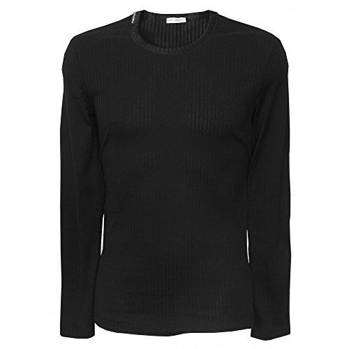 Dolce & Gabbana Luxe Gerippter Baumwolle Langarm-Herren T-shirt, Schwarz