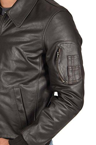 Herren Echtes Leder Tailliert Bomber Flug Harrington Klassischer Stil Jacke Cash Dunkelbraun