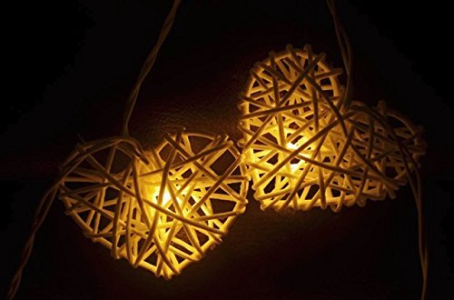 Natural White Heart Set Rattan Ball String Lights Fairy Party Decor Wedding Bedroom Garden Spa and Holiday 20 Lighting ( Battery AA LED ) by' Thai Decorated by Thai Decorated