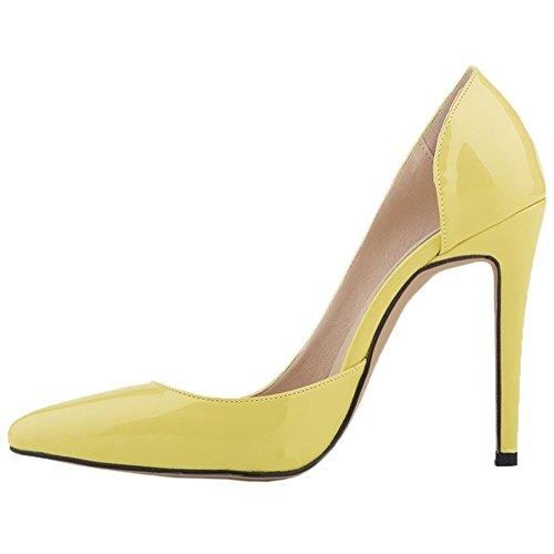 HooH Women's High Heel Pointed Toe D'orsay Wedding Pumps Yellow-1 7ILK5nVfJ