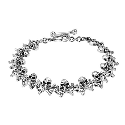 AeraVida Skull and Crossbones .925 Sterling Silver Toggle Link Bracelet ()