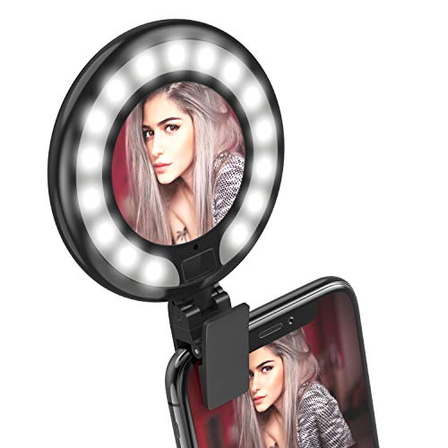 FEGEGO Selfie Light Ring Lights LED Circle Light Rechargeable Laptop Camera Photography Video Lighting Makeup Mirror Fill Light Clip On Cell Phone Compatible with iPhone iPad Samsung Galaxy-Black