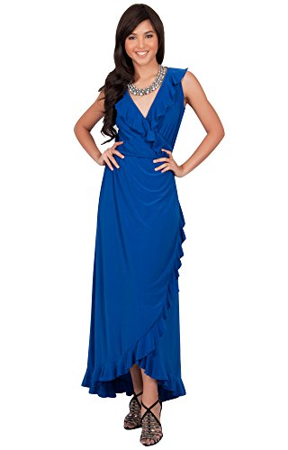 KOH KOH Plus Size Womens Long Summer Sleeveless Wrap Evening Bridesmaid Sexy Wedding Party Guest Elegant Sun Beach Robe Flowy Sundress Gown Gowns Maxi Midi Dress Dresses, Cobalt/Royal Blue 2XL (Plus Size Fancy Dress Outfits)