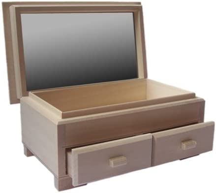 Decocraft Plain Caja de Madera 2 cajones y Espejo DECOUPAGE Supplies Craft Art Craft 11 cm x 14 cm x 24 cm (4,3 x 5,5 x 9,5 cm): Amazon.es: Hogar
