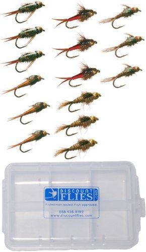 - Discountflies Bead Head Nymph Collection 15 Flies + Fly Box