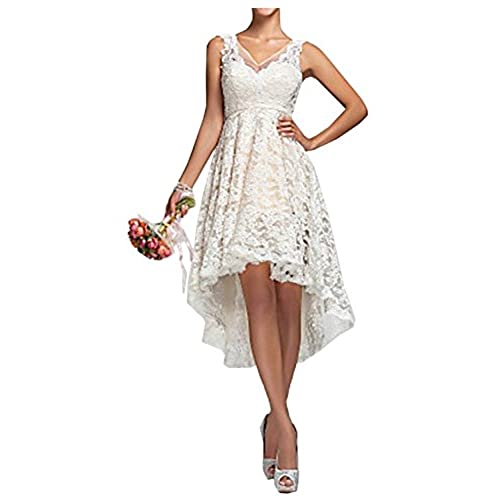 Hot Dresses Womens High Low Country Style Wedding Long Brial Dress US 10 Ivory