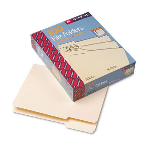 1st Position Manila File Folders (Smead Products - Smead - File Folders, 1/3 Cut 1st Position, 1-Ply Top Tab, Letter, Manila, 100/Box - Sold As 1 Box - An office staple. - Single-ply tops. - 11 pt. Manila. - Scored for 3/4