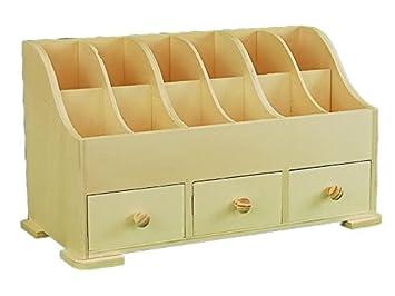 Caja expositor con cajones. En madera de chopo en crudo, para pintar.: Amazon.es: Hogar