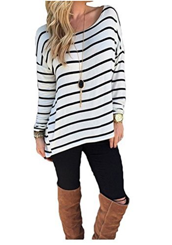Amy Fashion Halife Women's Black and White Stripes Long Sleeve T-Shirt Tops (S, 01 White)