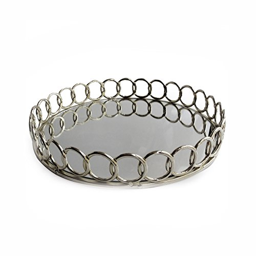 American Atelier 1332747 Looped Round Mirror Tray, - Silver Round Mirror