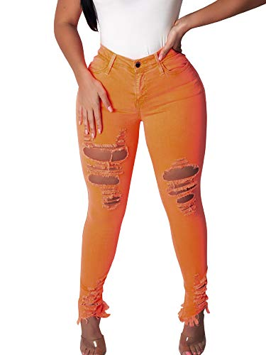 ALLUMK Summer Women High Waist Skinny Jeans Ripped Holes Jeans Femme Denim Pencil Pants Orange - La Femme Fashion