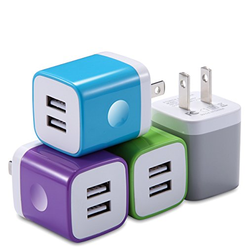(X-EDITION USB Wall Charger, Charging Block 4-Pack 2.1A Dual Port USB Power Adapter Wall Charger Plug Cube Compatible with Phone Xs Max XR X 8 7 6 Plus 5 4, Pad, Samsung, LG, Moto, Android More)