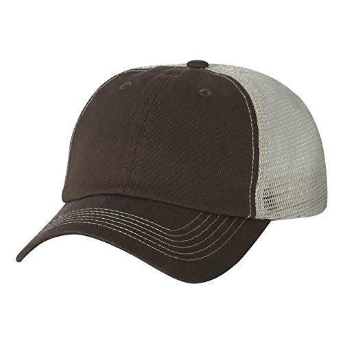 Sportsman - Contrast Stitch Mesh Cap - 3100 - Adjustable - Brown/ Stone Contrast Stitch Adjustable Cap