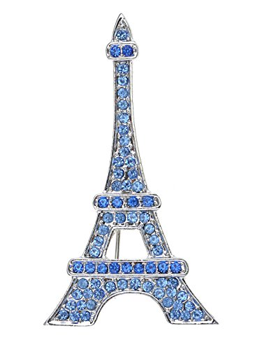 Alilang Silvery Tone Plated Synthetic Sapphire Blue Paris Eiffel Tower Fashionable Jewel Pin Brooch