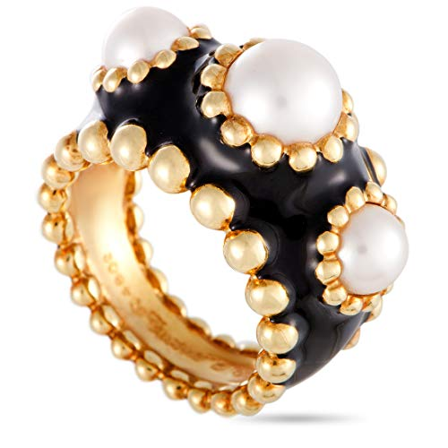 Chanel (Est.) Chanel 18K Yellow Gold Pearl and Enamel Band Ring