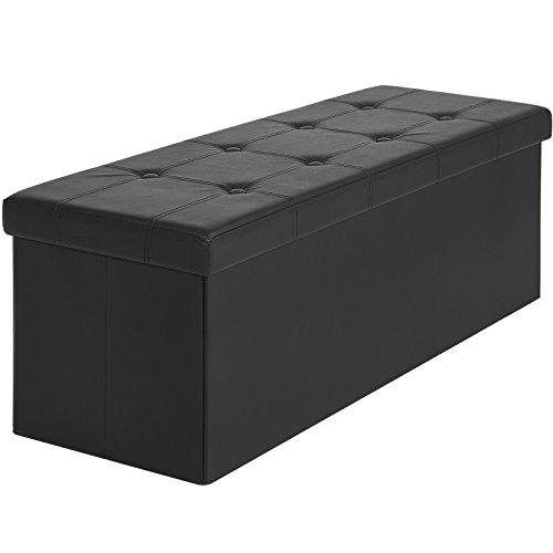 Faux Leather Folding Storage Ottoman Large Black Bench