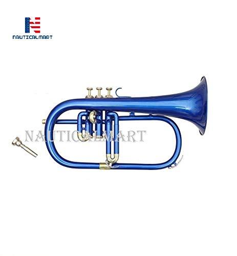 Bb Flat 3 Valve Blue Flugel Horn + Free Hard Case + Mouthipice