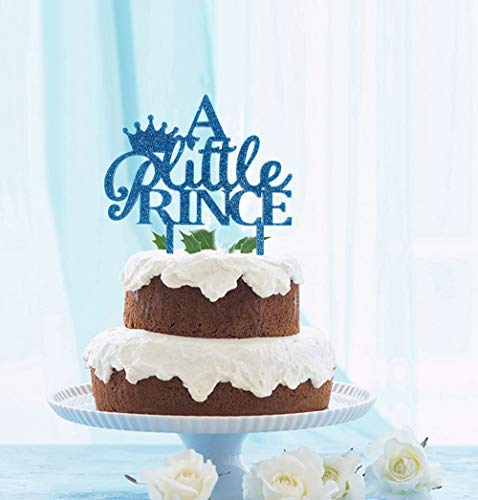 GrantParty Little Prince with Crown Cake Topper, Boy Baby Shower Birthday Wedding Premium Quality Party Decorations(Blue)