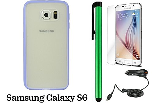 Samsung Galaxy S6 (2015 Samsung New Flagship Android Phone; US Carrier: Verizon Wireless, AT&T, Sprint, and T-Mobile) Phone Case - Premium colored border and transparent rear cover case + Car Charger + Screen Protector Film + 1 of New Metal Stylus Touch S by WAM Samsung Galaxy S8
