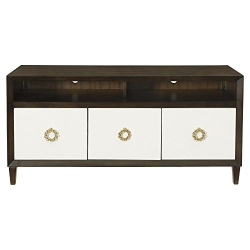 (Kathy Kuo Home Crawford Caviar Regency White Leather Media Cabinet)