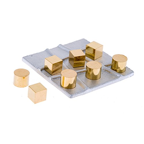EliteCrafters Modern Solid (Aluminum & Brass) Metal Handmade, Decorative Tic Tac Toe Board Game, Cubes & Cylinders Design, Silver & Gold Color, 7.5x7.5cm (2.9''x2.9'') ()
