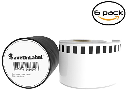 SaveOnLabel Brother DK-2205 Compatible Continuous Paper Labels, BPA Free, Strong Adhesive, Resistant To Scratches and Smudges, Compatible with QL-500/550/570/580/650/1050/1050/1060 and More, 6 Rolls