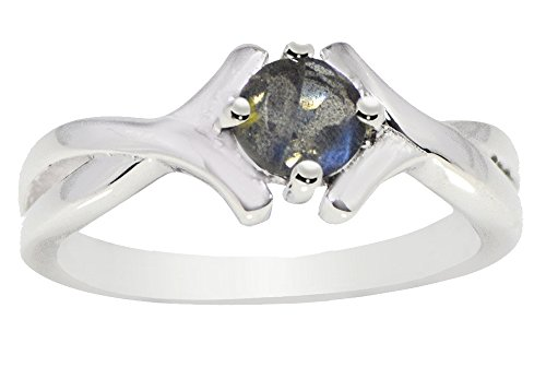 Gray Womens Ring - Banithani 925 Sterling Silver Labradorite Cut Gemstone Ring Band Women Fashion Jewelry