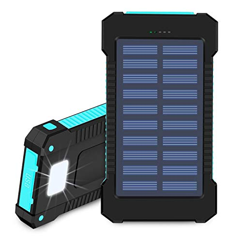 Solar Power Bank 20000mAh Portable Phone Charger Waterproof Battery Packs with Dual Ports, Compass, Flashlight for Camping Solar Panel for Smartphones,GoPro Camera,GPS and Other Devices