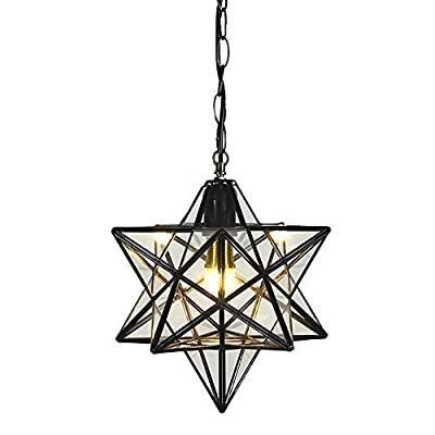 12 inch Moravian Star Pendant Light Ceiling Hanging Drop Lighting Fixture for Kitchen Island Living Room Bedroom Hallway Clear Glass Light Shade LED Bulb Included
