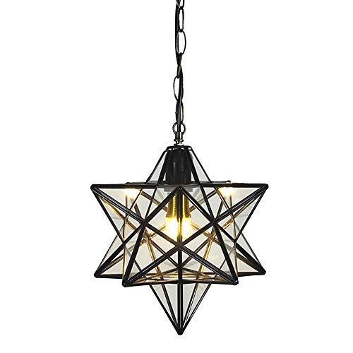 12 inch Moravian Star Pendant Light Ceiling Hanging Drop Lighting Fixture for Kitchen Island Living Room Bedroom Hallway Clear Glass Light Shade LED Bulb Included (30CM Pendant ()