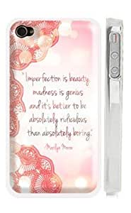"""Marilyn Monroe iPhone 4 4s Case - Lace iPhone Case - """"Imperfection is beauty, madness is genius, and it's better to be absolutely ridiculous than absolutely boring"""""""