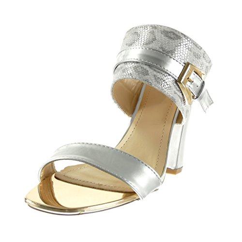 Mule Talon Bloc Mode Argent Serpent Sandale 10 Peau Doré Chaussure cm Angkorly Haut de Femme Boucle vpqt5Z