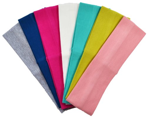 (Set of 7) 2.5 Inch Cotton Stretch Headbands From Funny Girl Designs (Official Funny Girl Designs Summer Set)