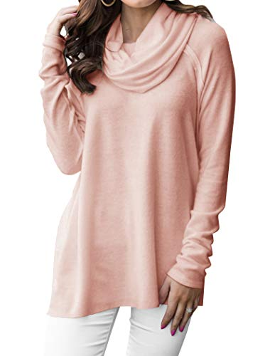 Minclouse Women's Long Sleeve Cowl Neck Pullover Tops Loose Casual Sweatshirts Pink