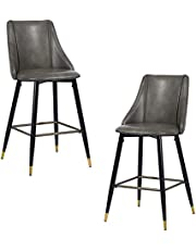 FurnitureR Mid-Century 25 Inch Counter Height Bar Stools Set of 2, Stools with Back for Kitchen Counter, Faux Leather Upholstered with Metal Legs for Kitchen Island (Gray)