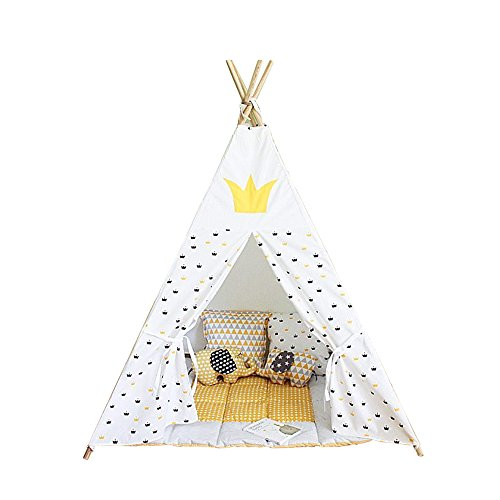 WURE Children Game Tent Crown Princess Pattern Indian Tent Four Corners of The Tents Indoor Outdoor Garden Tent (Does Not Include Toys and Ornaments)