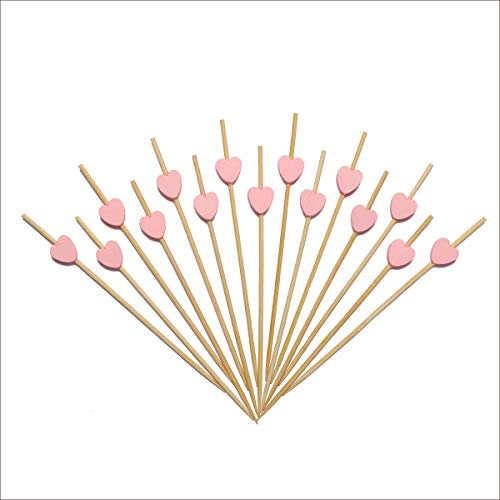 Pink Heart Skewers for Appetizers Fruit Kabobs Long Bamboo Cocktail Picks Wedding Birthday Valentines Party Toothpicks Food Drinks Décor Disposable 4.7