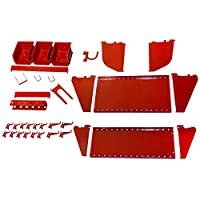 Wall Control KT-400-WRK R Slotted Tool Board Workstation Accessory Kit for Wall Control Pegboard Only, Red