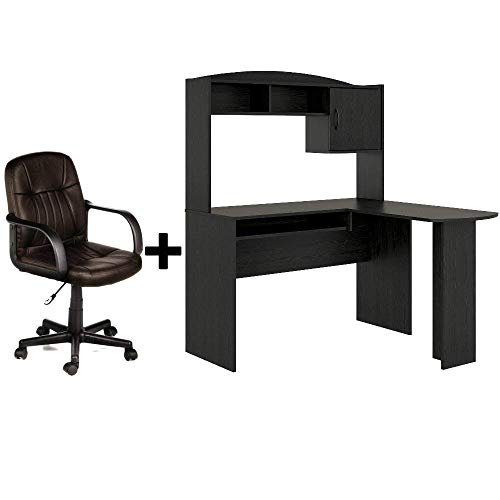 Corner L Shaped Wood Office Desk with Hutch in Black Oak + Leather Mid-Back Chair in Brown - Bundle Set