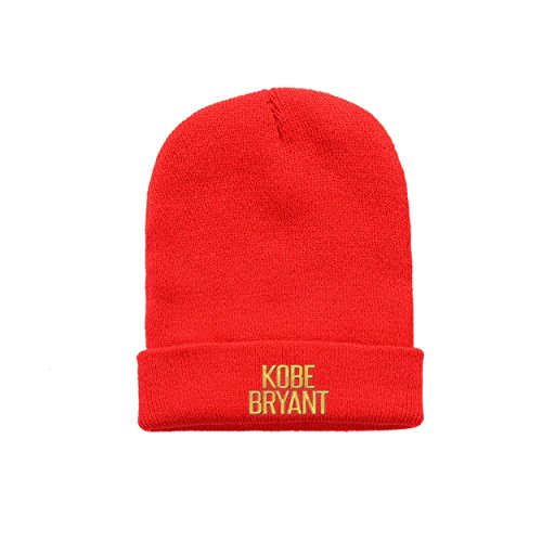 Unique-cap Kobe words Forever Bryant golg Beanie Red Warm Woolen Cap One Fit All Embroidery For Adult and Youth Multi Color Red