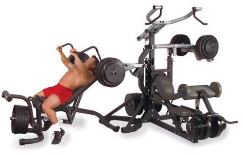 Body-Solid Free-Weight Leverage Gym with Squat Attachment and Olympic Leverage Flat Incline Decline Bench (SBL460P4)