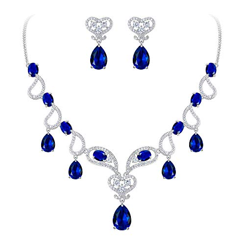 (BriLove Women's Bohemian Boho CZ Teardrop Hollow Heart Shape Statement Necklace Dangle Earrings Set Sapphire Color Silver-Tone September Birthstone)