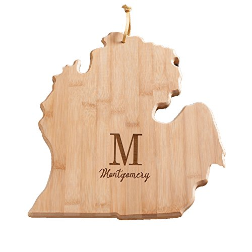 (Personalized Family Initial Michigan State Cutting Board, Bamboo, 14.25