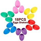 18PCS Eggs Shaker Set Colorful Musical Rhythm Eggs Shaker for Child Party Supplies Sand Eggs Toys Plastic Easter Eggs, 6 Colors (Eggs Shakers-18PCS)