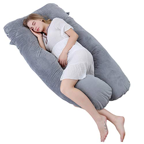 Body Pillow Support U Comfort (Meiz U Shaped Pregnancy Body Pillow with Zipper Removable Cover (Gray- Velvet))